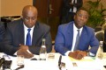 le ministre Niamien N'goran, Inspecteur général d'Etat (à droite) et M. Aly Touré, Porte-parole de Convergence 2020