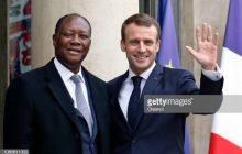 PARIS, FRANCE - NOVEMBER 12:  French President Emmanuel Macron (R) welcomes Ivory Coast's President Alassane Ouattara prior to their meeting at the Elysee Presidential Palace on November 12, 2018 in Paris, France. Ouattara came to France to participate in the international ceremony of the Armistice Centenary of 1918 at the Arc de Triomphe on November 11.  (Photo by Chesnot/Getty Images)